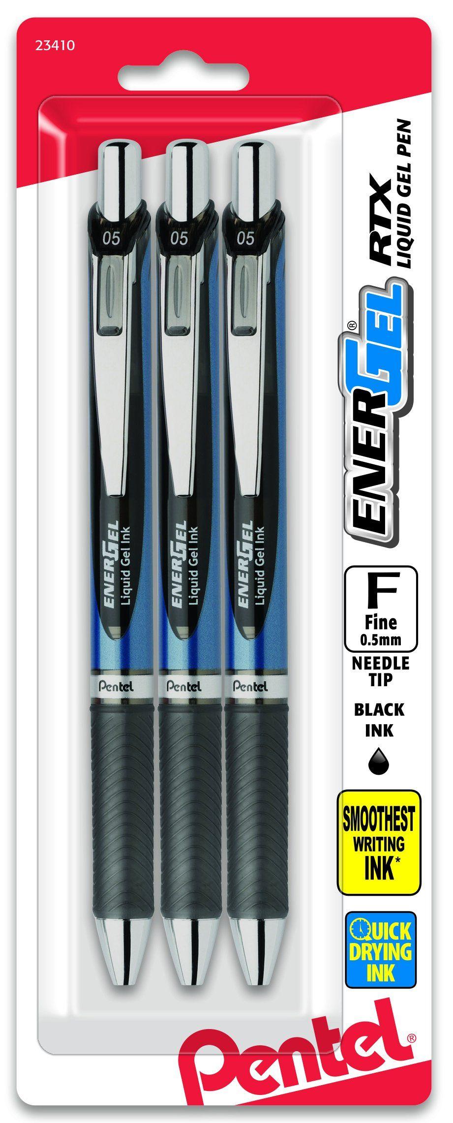 Medium Point 0.7mm Assorted Ink 3//Pack Pentel EnerGel Deluxe RTX Gel Ink Pens