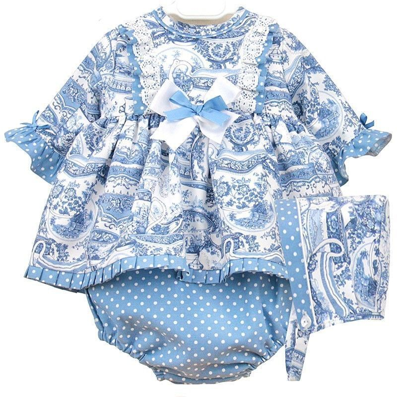 Baby Girls Soft Blue Floral Easter Clothing Set with Bonnet Shorts and Bloomers
