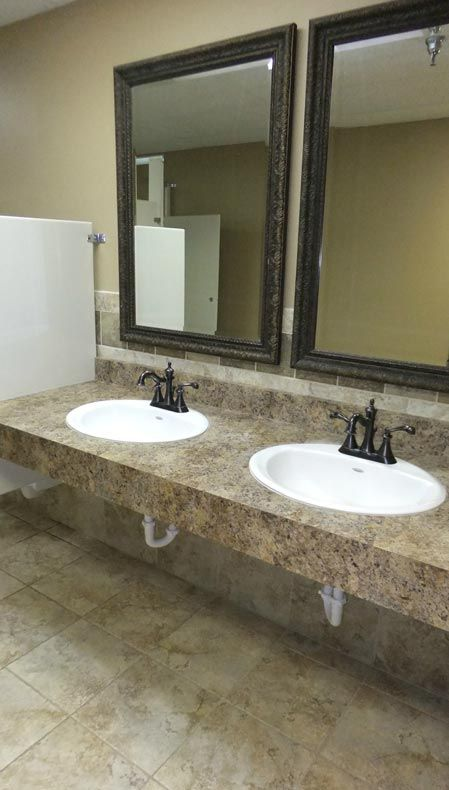Commercial Bathroom Not This Countertop But This Style Single Slab 2 Sinks