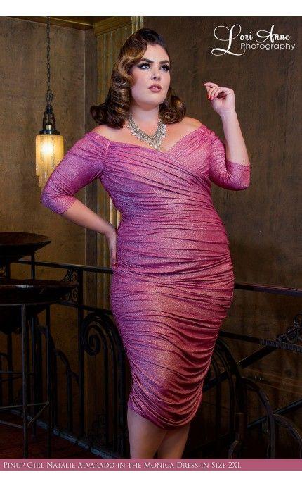 Laura Byrnes California - Monica Dress in Pink Lurex | Pinup Girl ...