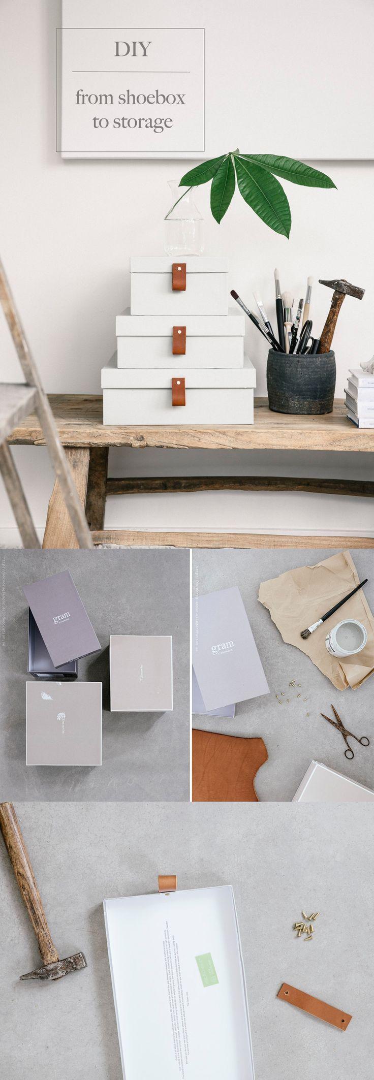 Einfaches wohnmöbel design diy gör om skolådorna till fina förvaringslådor med läderdetaljer