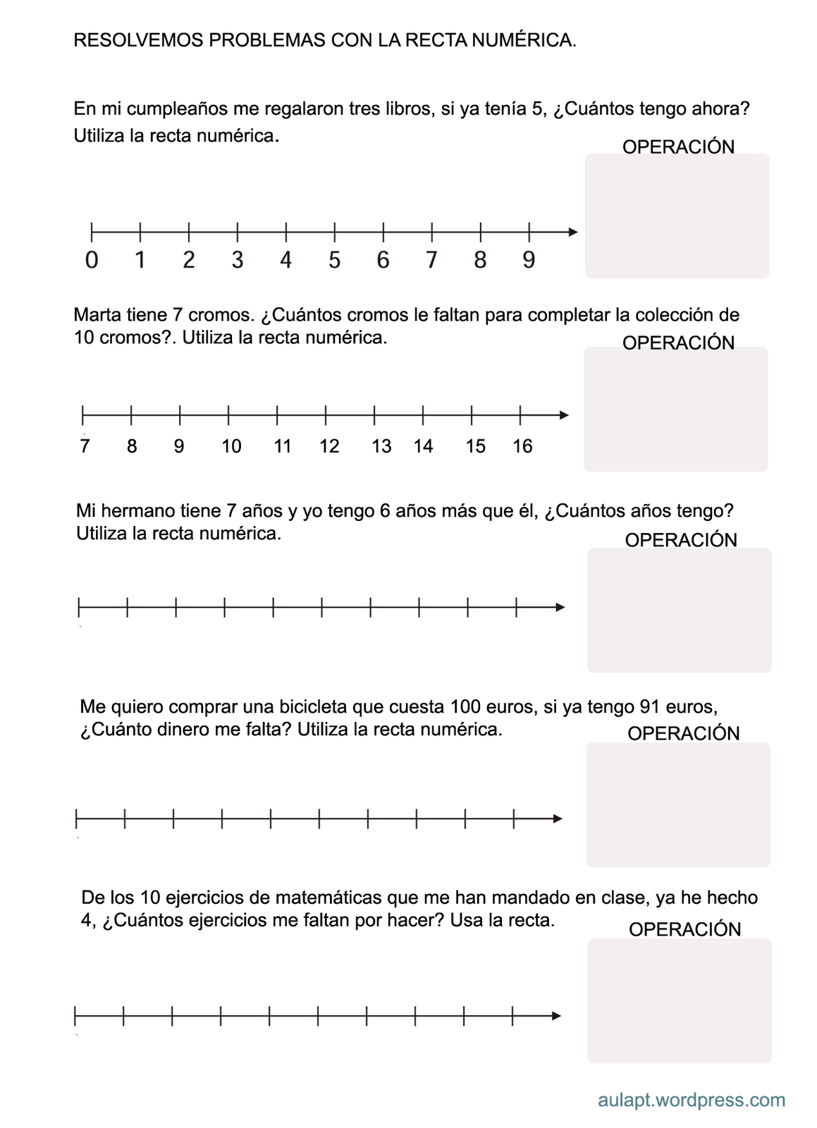 problemas con recta numérica … | Educació…