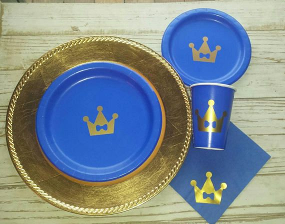 Royal blue and gold prince crown plates with a little bow tie are the perfect decor & Royal prince blue and gold plates cups napkins prince baby shower ...