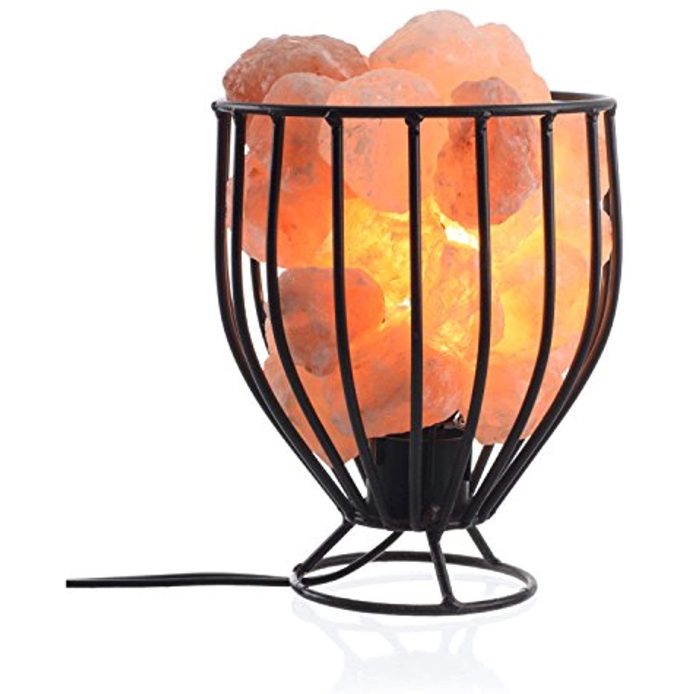 Himalayan Salt Lamp Basket With Natural Salt Chunks Beautiful Tall Metal Basket Full With Natural Ai Himalayan Salt Lamp Basket Salt Lamp Himalayan Salt Lamp