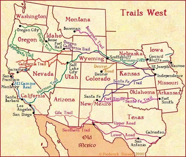 Trails West A Map Of Early Western Migration Trails Everything - Map-western-us