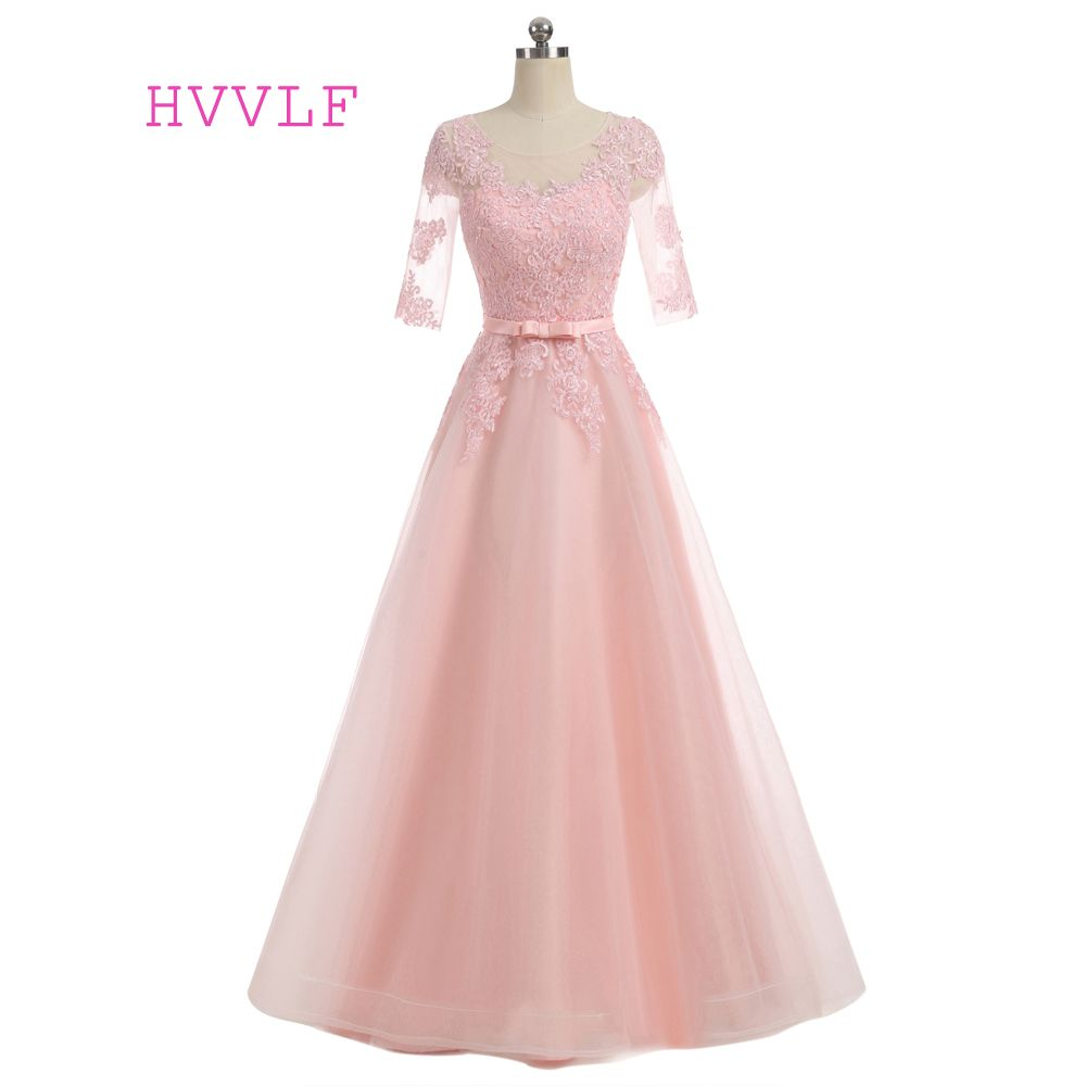 HVVLF Pink Evening Dresses 2017 A-line Scoop Half Sleeves Tulle ...