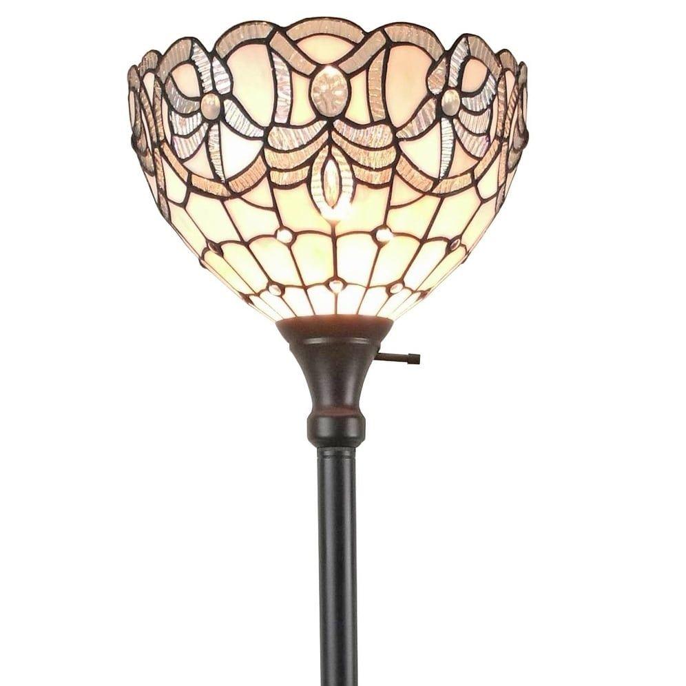 Amora Lighting Am284fl12 Tiffany Style White Torchiere Floor Lamp