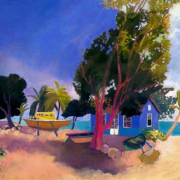 Les Six Hommes Et La Baie 1996 La Villa Metisse Catherine Theodose Art Painting Caribbean