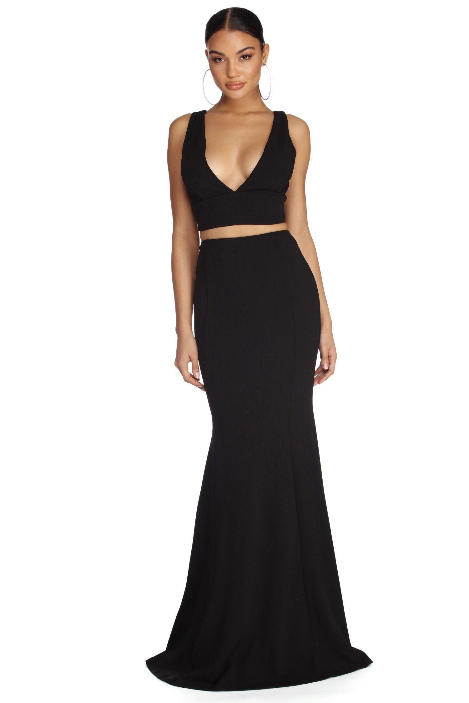 Roxanna Black Formal Lattice Two Piece Dress Black Formal Prom Dresses Formal Dresses Prom Two Piece Dress [ 2247 x 1500 Pixel ]