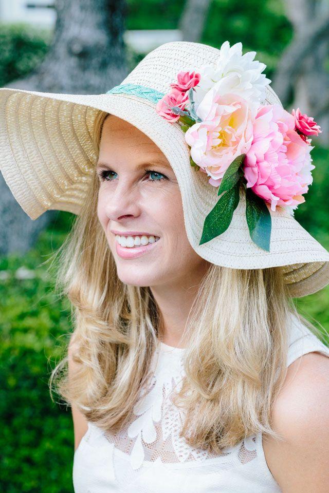 5266c6ec864d9 Kentucky Derby floral hat - decorate with faux flowers - DIY hat - sun hat