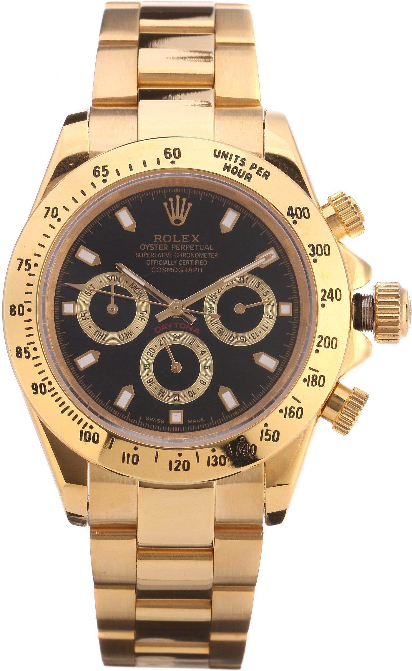 21600b04ecc1 Часы Rolex Daytona золотые, черный циферблат   Мужские наручные часы ...