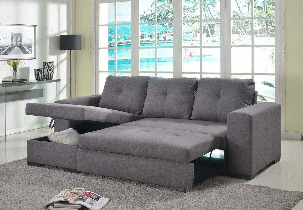 Grey Or Brown Fabric Corner Sofa Storage Sofa Bed Brooklyn Lhf