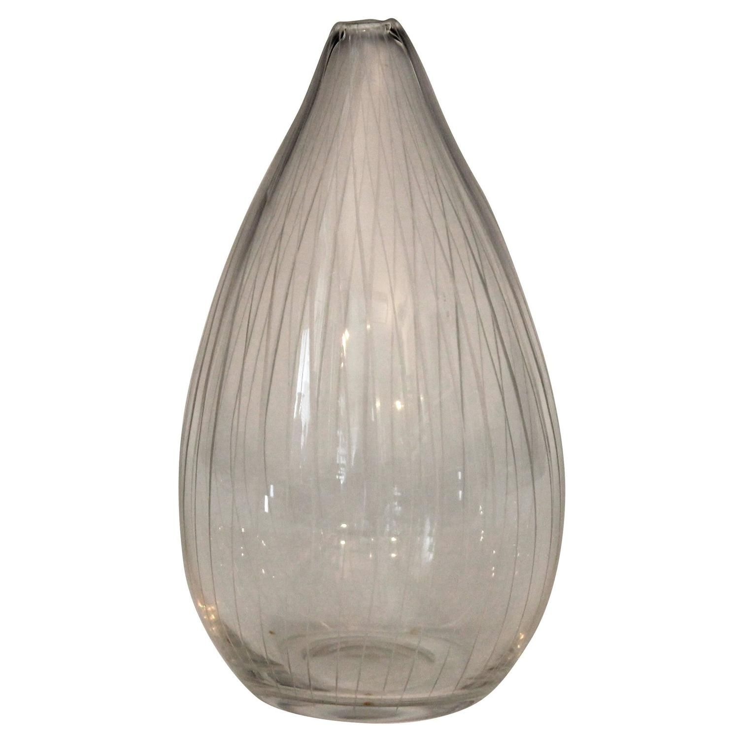 Tapio Wirkkala for Iittala Engraved Art Glass Finnish Mid Century Vase | From a unique collection of antique and modern vases and vessels at https://www.1stdibs.com/furniture/decorative-objects/vases-vessels/