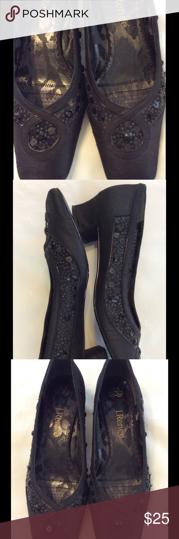 """Black satin with mesh sequin and bead accents EUC Very pretty, worn once or twice.  1 1/2"""" heel. J. Renee' Shoes Heels"""