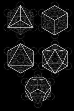 The platonic solids are found in 'sacred geometry' Sacred Geometry is a term used to describe patterns, shapes and forms that are part of the make up of all living things. The shapes regularly occu…