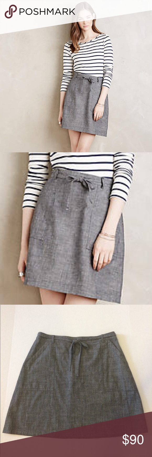 """Anthropologie M.i.h Jeans 'Nanterre' Skirt NWT M.i.h Nanterre chambray skirt in Black/Noir. 100% cotton. Exposed rear zipper closure. Attached tie at the waist. Front patch pockets. Waist 16"""" flat across. Length 19"""". Measurements are approximate. NWT. Anthropologie Skirts"""