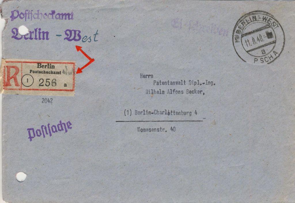 Postscheckamt Berlin-West ab 09-08-1948. Provisorische Brief. Der Absenderstempel 'Postcheckamt Berlin NW' wurde geandert in 'Postcheckamt Berlin-West'. Der R-Zettel erhielt den handschriftlichen Zusatz 'West'.