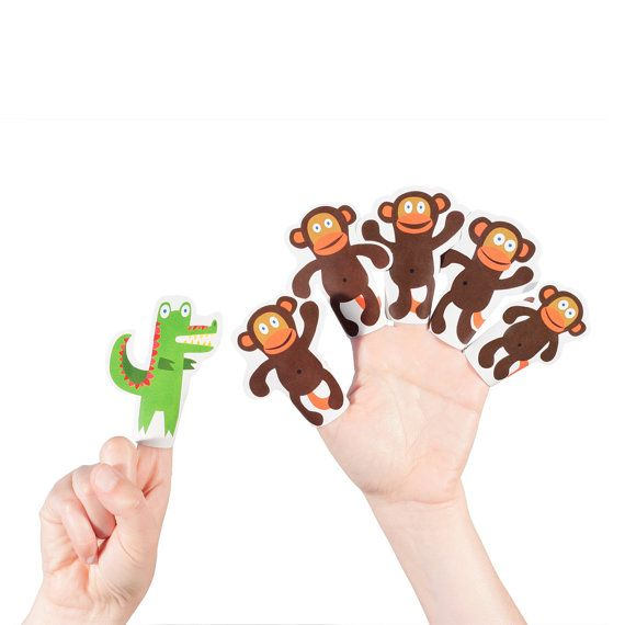 Five Little Monkeys Swinging In The Tree Paper Finger Puppets Printable Pdf Toy Diy