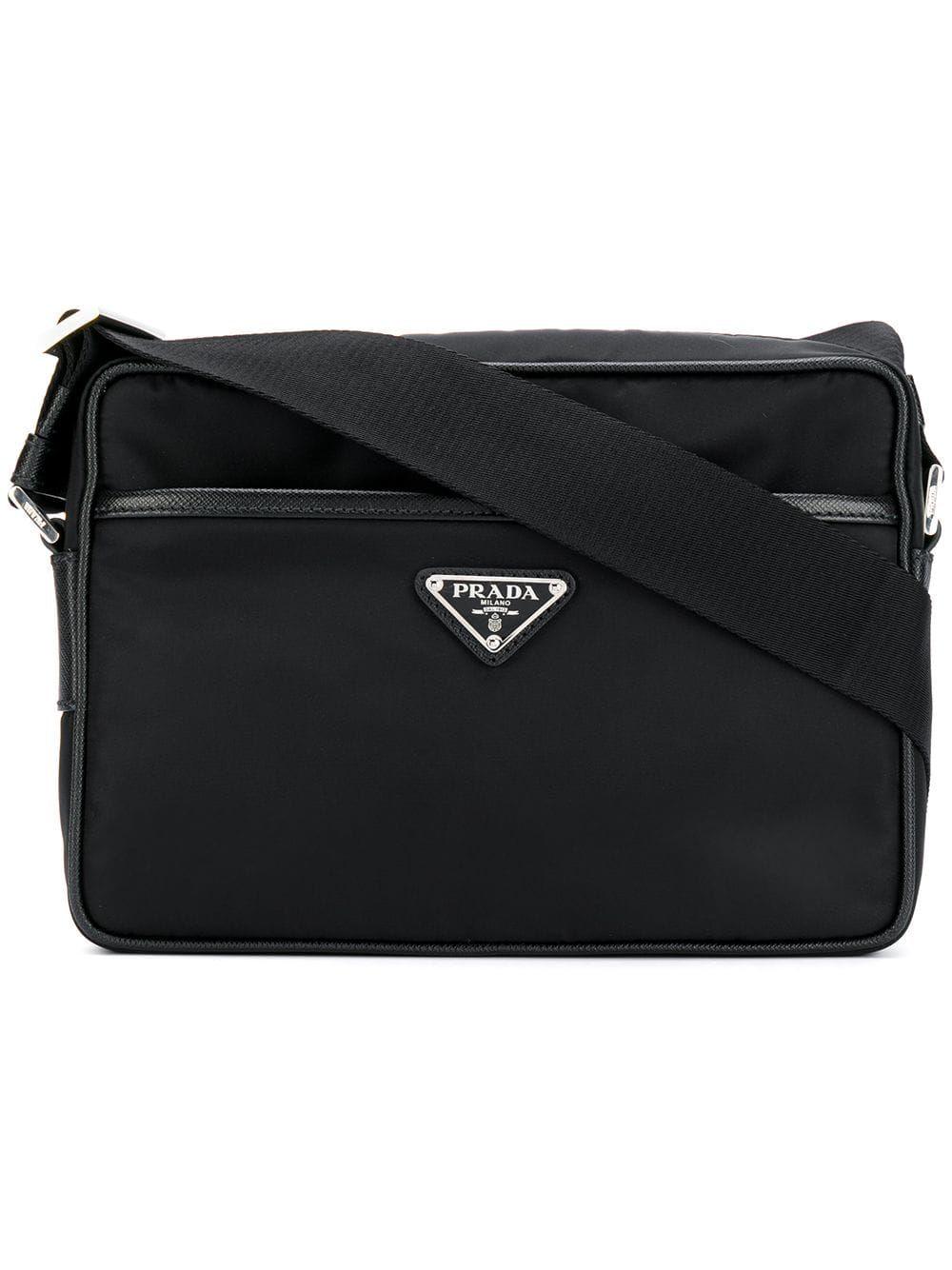 147d1f756f0 PRADA PRADA LOGO PLAQUE MESSENGER BAG - BLACK.  prada  bags  shoulder bags   leather  lining