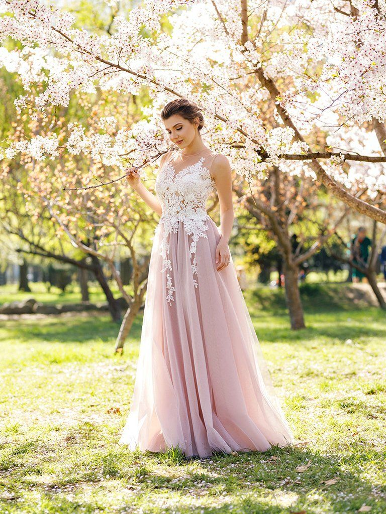 Aline prom dress scoop prom dressesevening dress with appliques