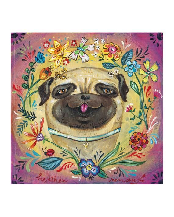 Pug Puppy Portrait - Dog with Flowers, Butterfly and Lady Bug, Pug Love Print by Heather Renaux #cutepugpuppies