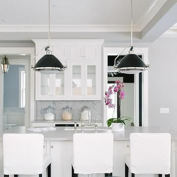 Black Industrial Pendants with White Island Butlers Pantry