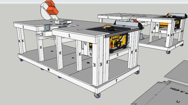 Large preview of 3D Model of Mobile Workbench with built ...