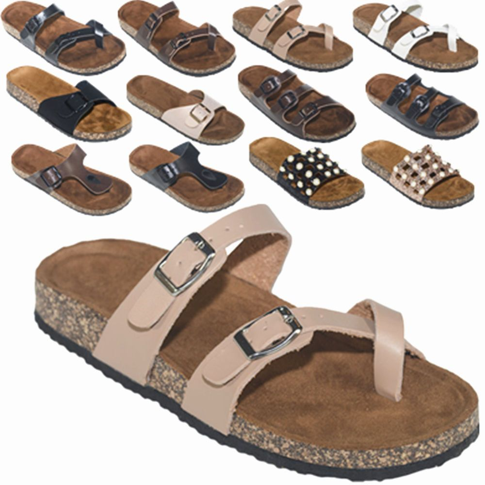 Women S Slide Buckle T Strap Cork Footbed Platform Flip Flop Shoes Sandals Ebay Flip Flop Shoes Platform Flip Flops Jelly Flip Flops