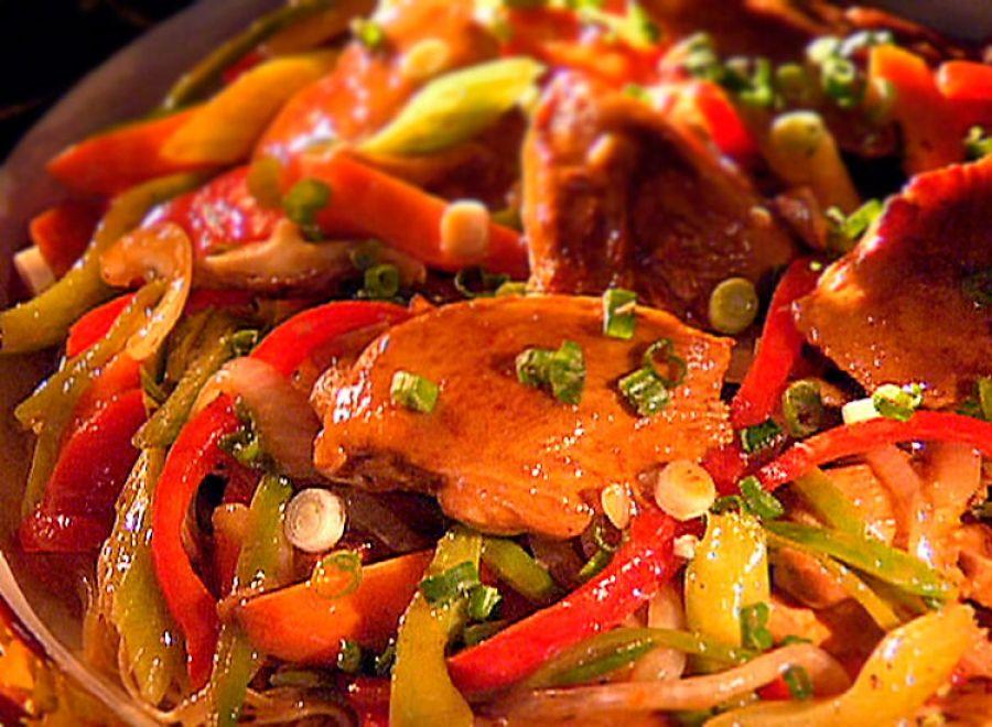 Piletina sa soja sosom Sastojci:  1 kg pilećeg belog mesa  300 gr šampinjona  3 velike paprike  1 crni luk  3 mlada crna luka  2 veće šargarepe  so  soja sos  maslinovo ulje