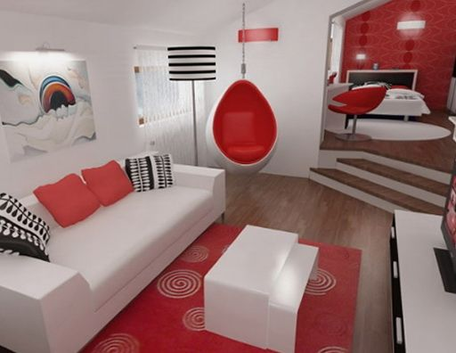 Rojo y negro del color en el interior diseno de interiores for Decoracion interior blanco