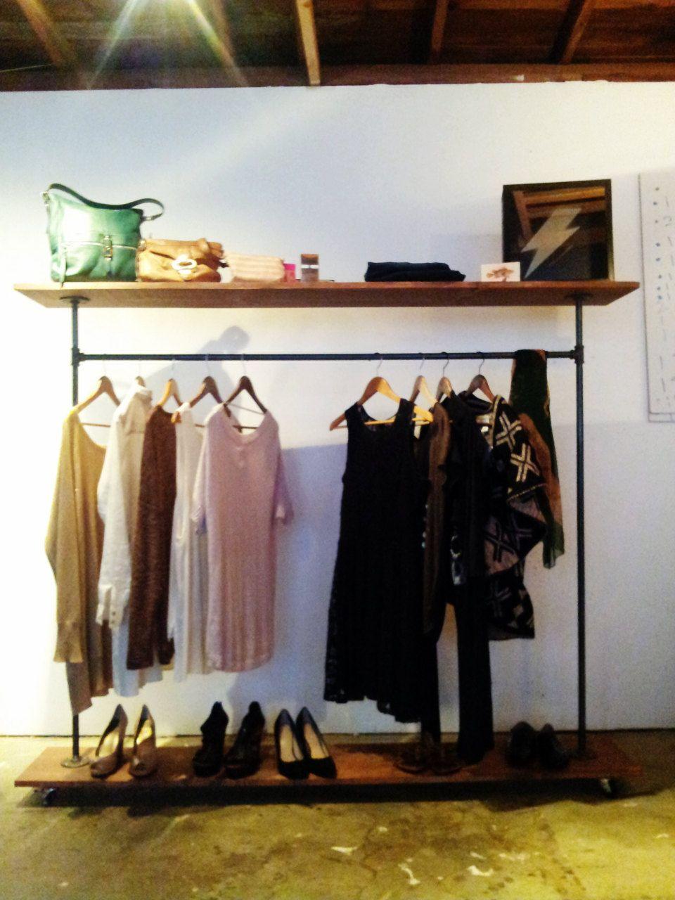 Top shelf garment rack industrial steel clothing rack usd