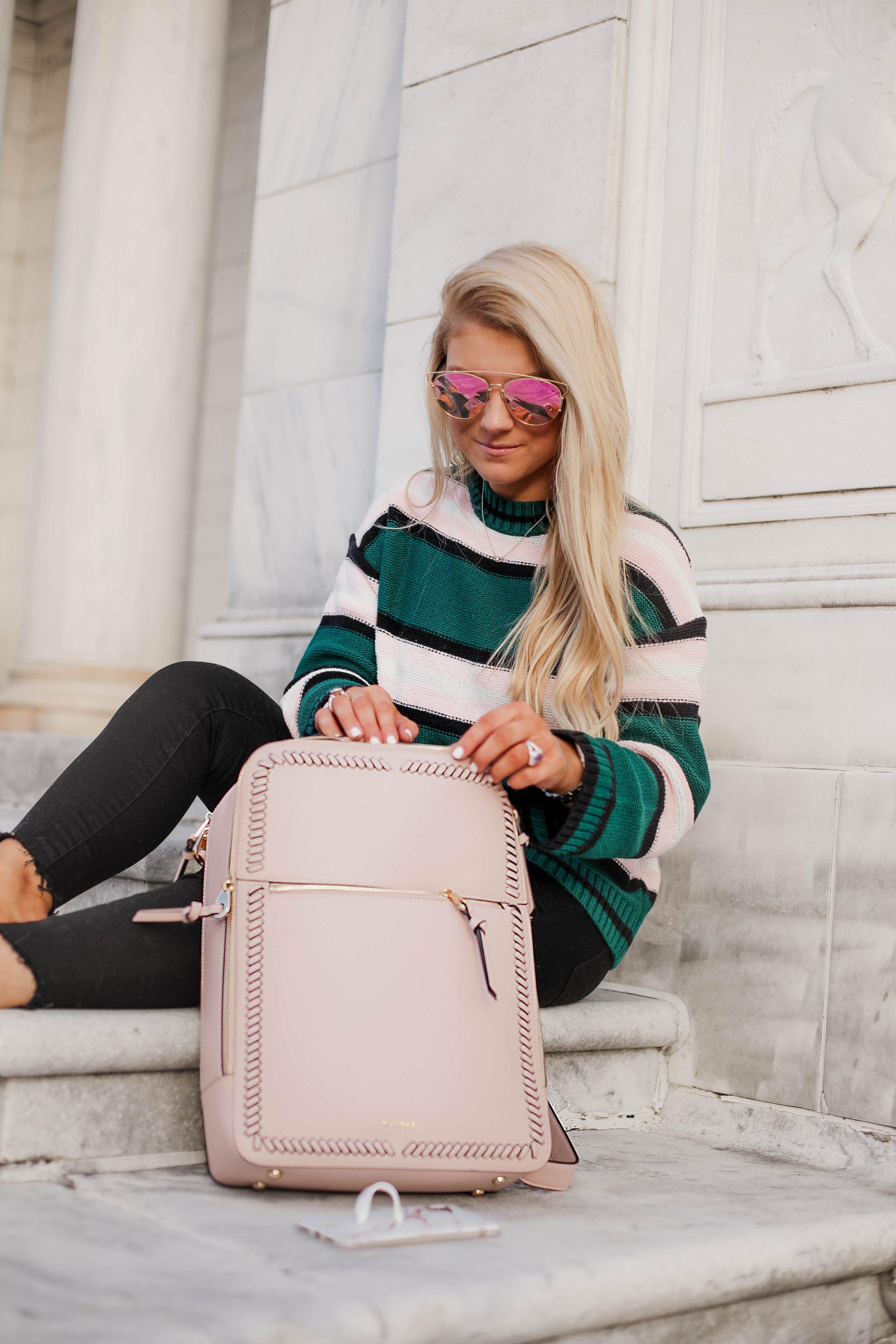 bbef24f06 BEST TRAVEL / WORK / SCHOOL BACKPACK    calpak backpack , travel bag ,  stripe sweater , megonomics101 , blush pink backpack