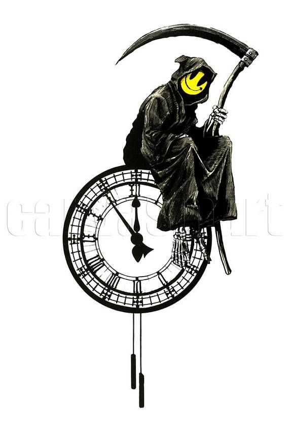 Grin Reaper Better Banksy Graffiti Spray Painting Stenciling Technique Canvas Print Giclée Free Shipping 40% OFF SALE