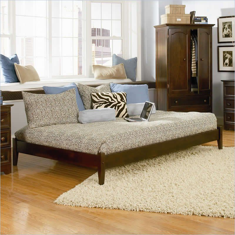 Atlantic Furniture Concord Platform Bed With Open Footrail In Antique Walnut Atlantic Furniture Furniture Platform Bed