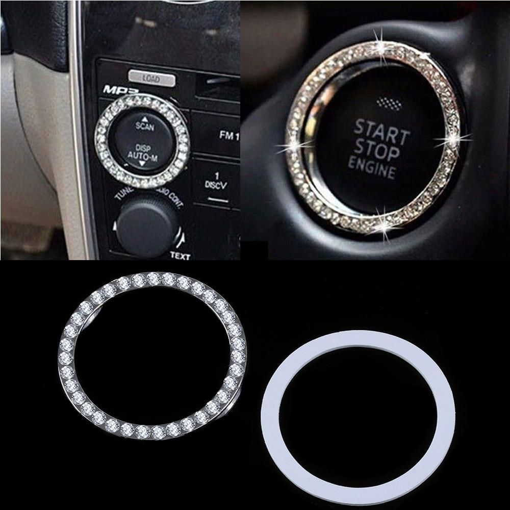 Car SUV Start Switch Button Decorative Diamond Rhinestone Ring