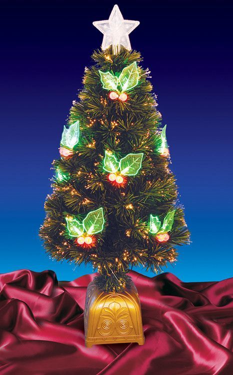 3\u0027 Pre-Lit LED Color Changing Fiber Optic Christmas Tree with Holly