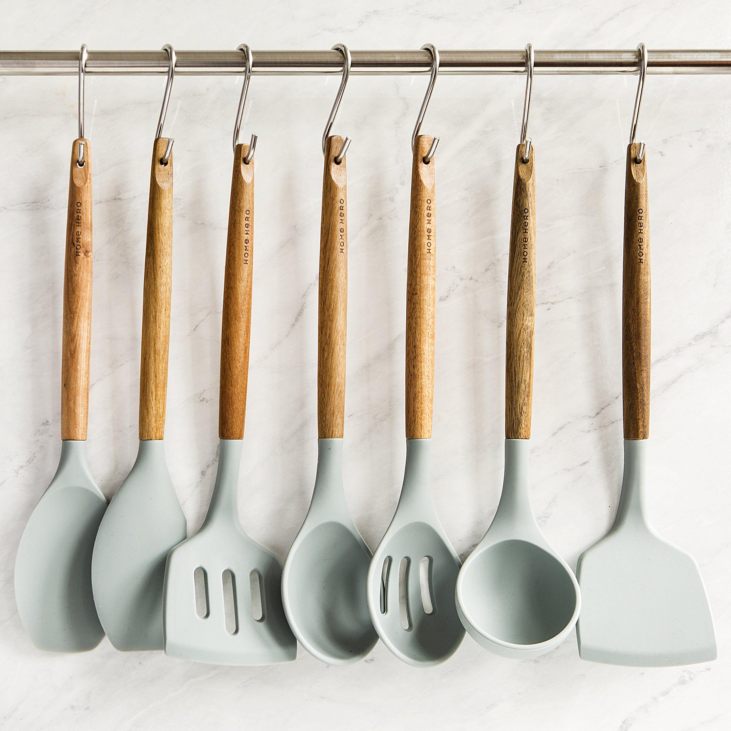 Silicone Cooking Utensils Kitchen Utensil Set 8 Natural Acacia