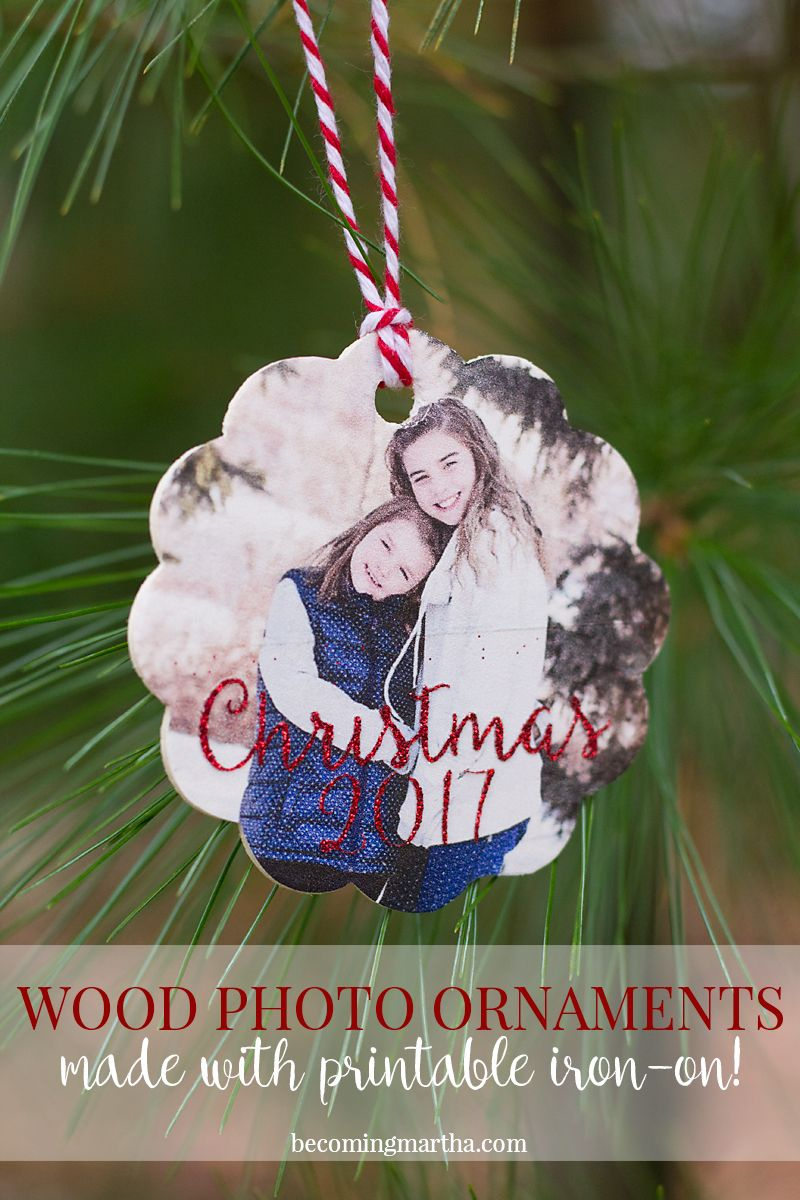 Wood Photo Ornaments Made with Printable Iron On | Pinterest