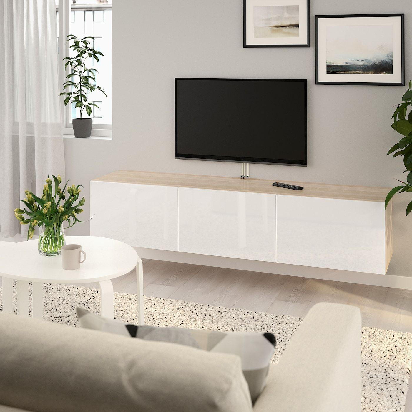 IKEA BESTÅ TV-Bank mit Türen – Eicheneffekt wlas, Selsviken Hochglanz/weiß