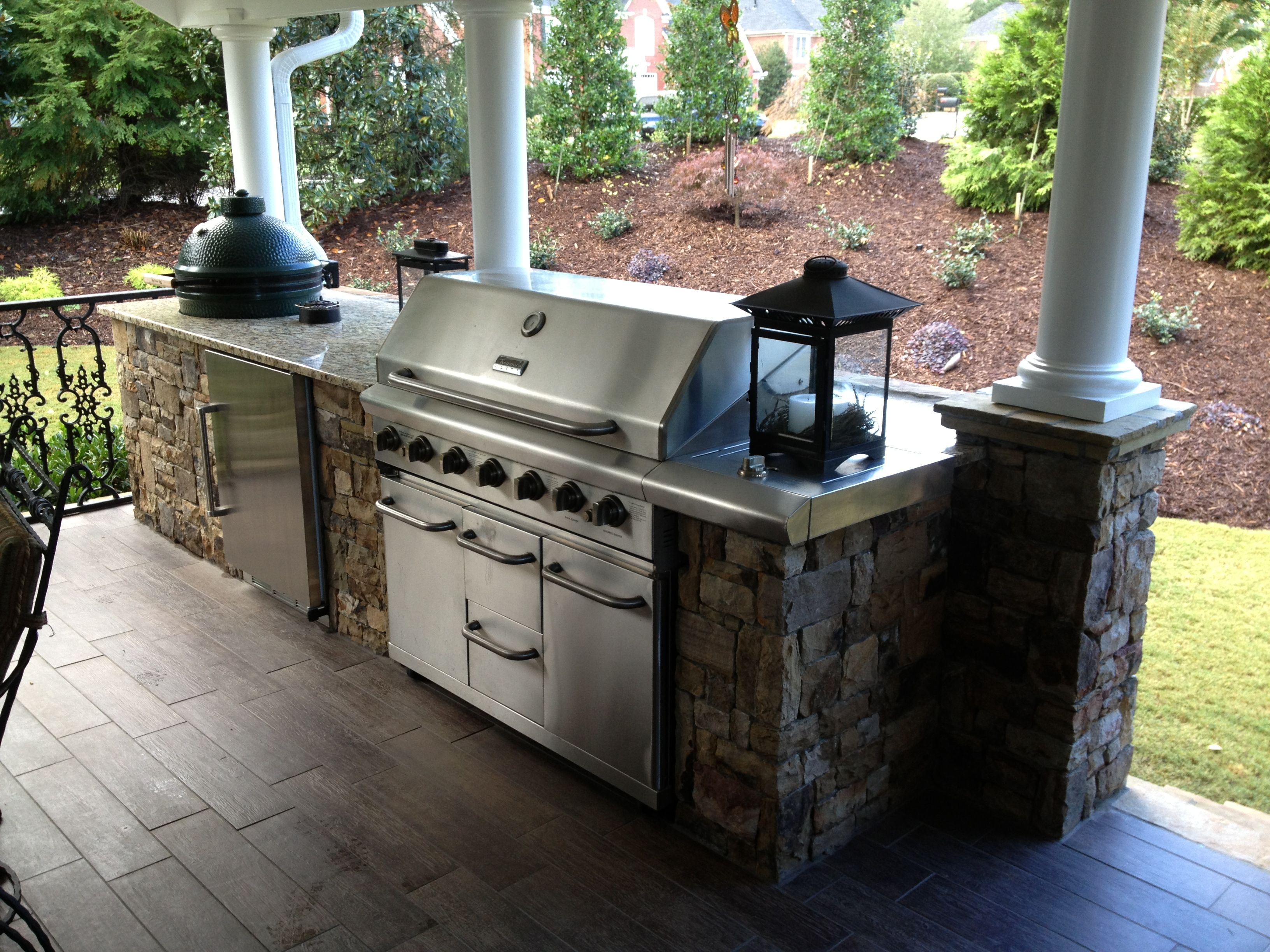Outdoor Kitchen Design With Grill And Green Egg Smoker. Nice Landscaped  Boarder To Enhance Your