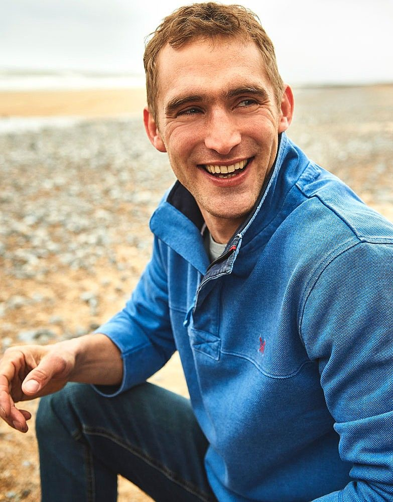Men's Padstow Pique Sweat in Deep Water from Crew Clothing