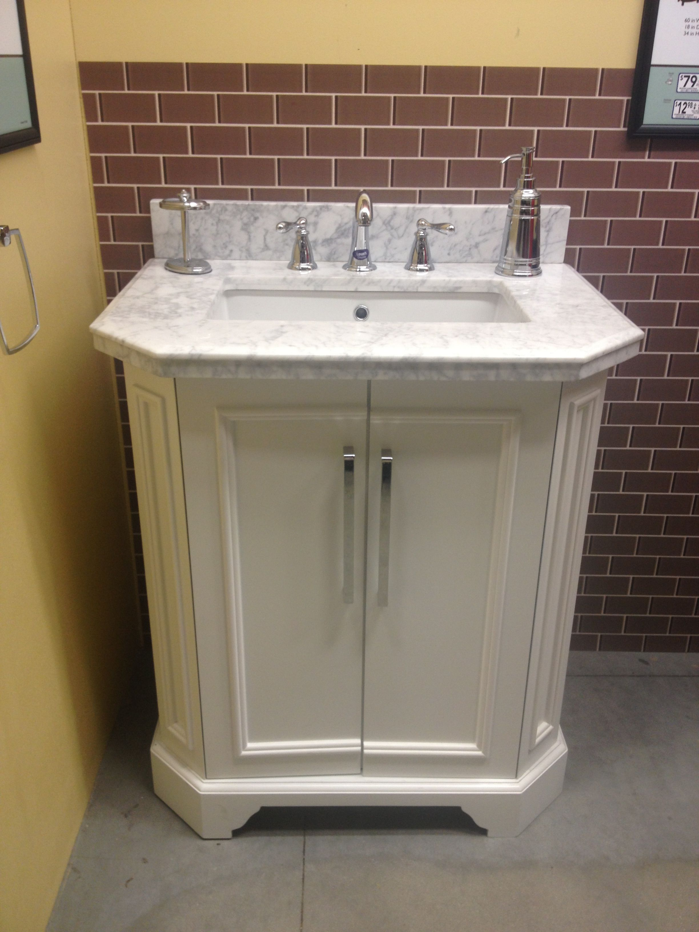 Allen Roth Delancy 31 Vanity Lowes Carrara Marble Top 419 Bathroom Vanity Countertops Bathroom Vanity Vanity
