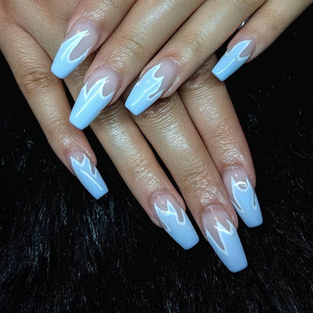 Blue Flame Nails Using Bioseaweedgel Bsghydrangea Bsgsnowwhite Blue Nails Fire Nails Blue Acrylic Nails