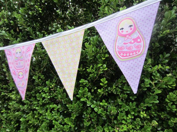 Girls Room - Fabric Babushka Doll Bunting - Pastel Colours - 3m | LittleStarrs | madeit.com.au
