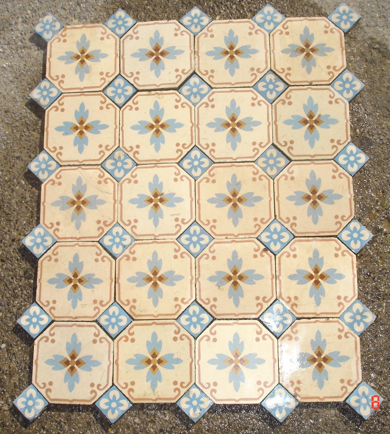 Pretty octagonal antique tiles with floral inserts the antique pretty octagonal antique tiles with floral inserts the antique floor company doublecrazyfo Image collections