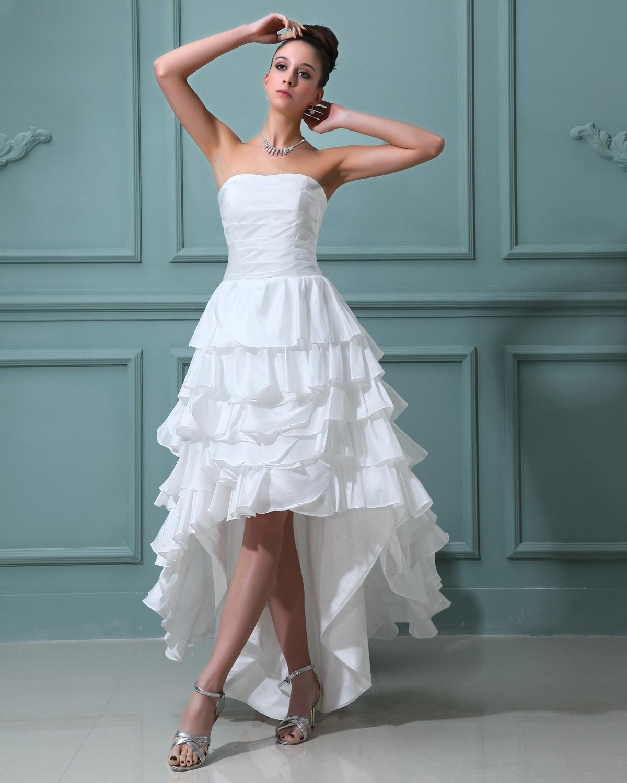 Mini wedding dresses  Ruffles Taffeta Sleeveless Sweetheart Short Mini Wedding Dress A