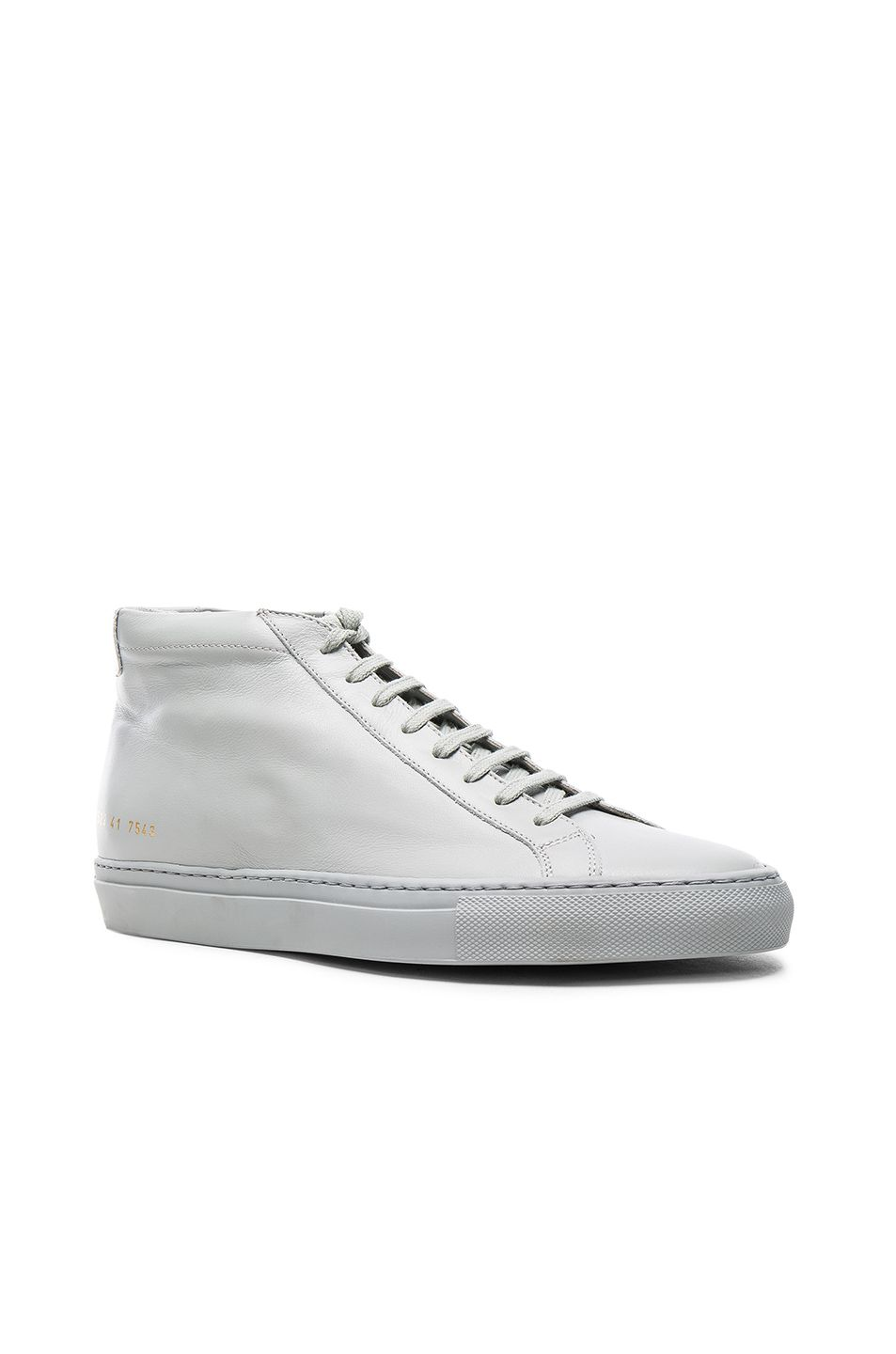 f5f0f553a60 COMMON PROJECTS COMMON PROJECTS ORIGINAL LEATHER ACHILLES MID IN GRAY. # commonprojects #shoes