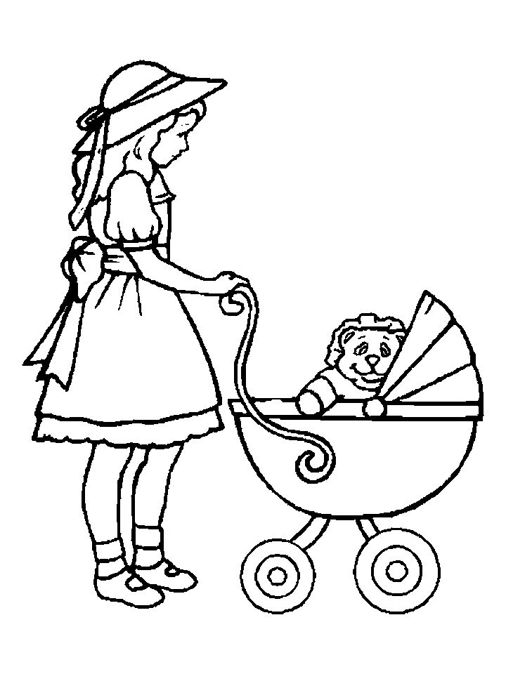 Doll Buggy Coloring Page