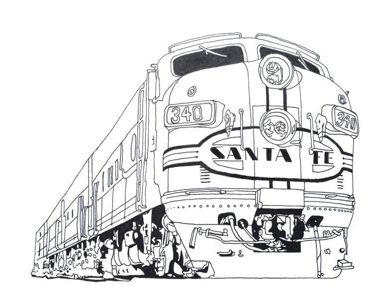 Santa Fe Art Print Santa Fe Art Train Drawing How To Draw Santa