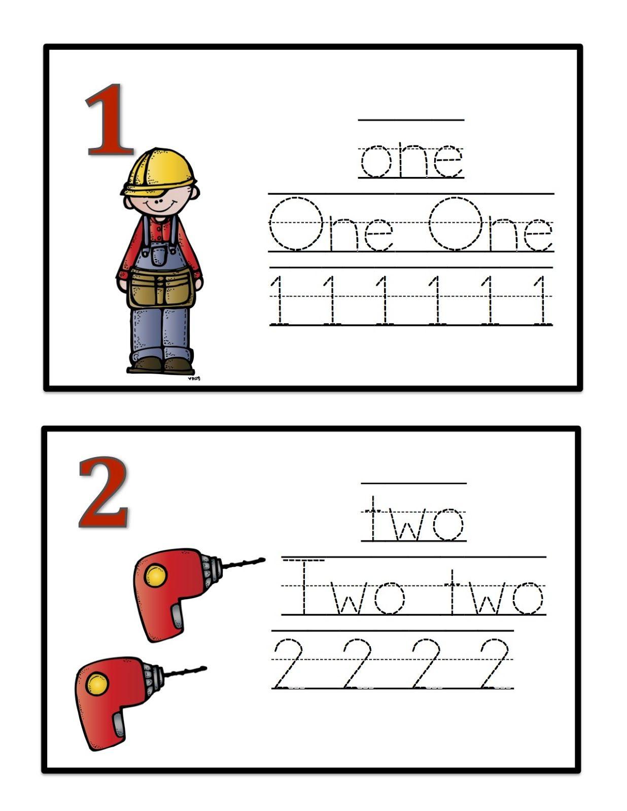 Tools Number Cards Preschool Printables